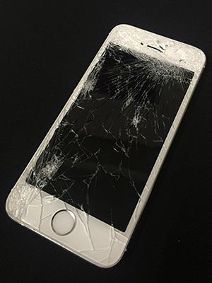 液晶が割れたiPhone
