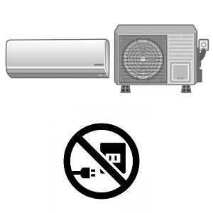 エアコンと専用コンセント不要マーク